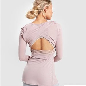 Gymshark Open Crossback Taupe Long Sleeve Top